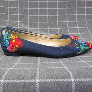 Nine West Embroidered Obedience Flats